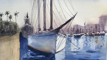 Painting an old schooner at the seaport of Barcelona