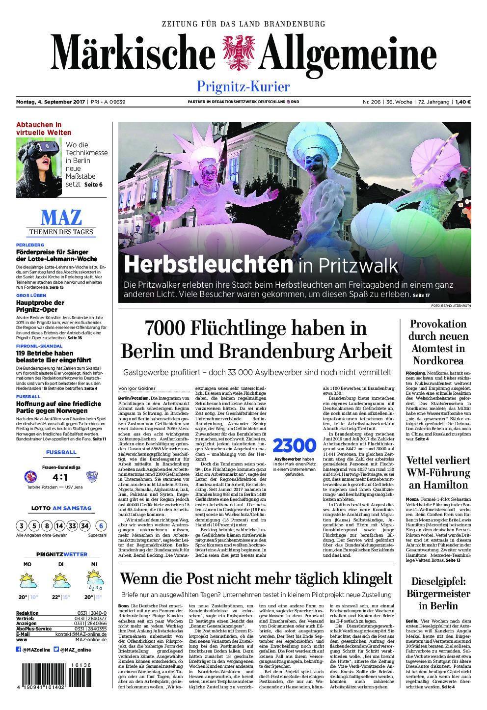 Märkische Allgemeine Prignitz Kurier - 04. September 2017