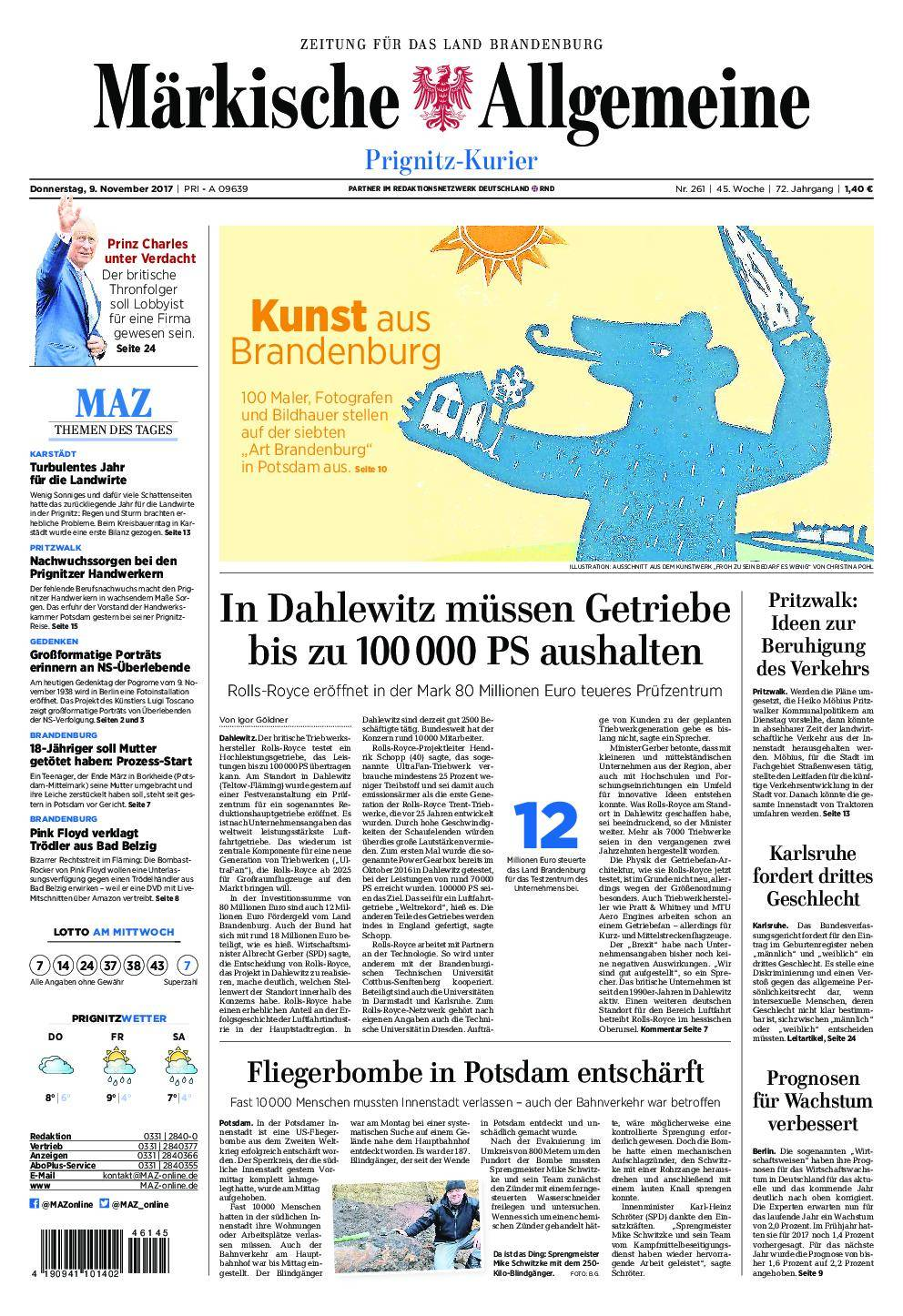 Märkische Allgemeine Prignitz Kurier - 09. November 2017