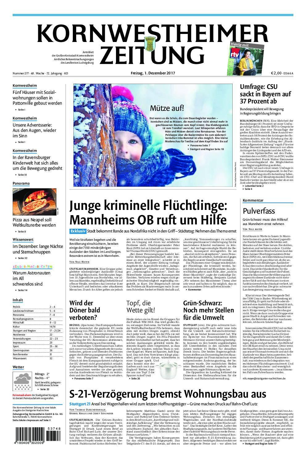 Kornwestheimer Zeitung - 01. Dezember 2017