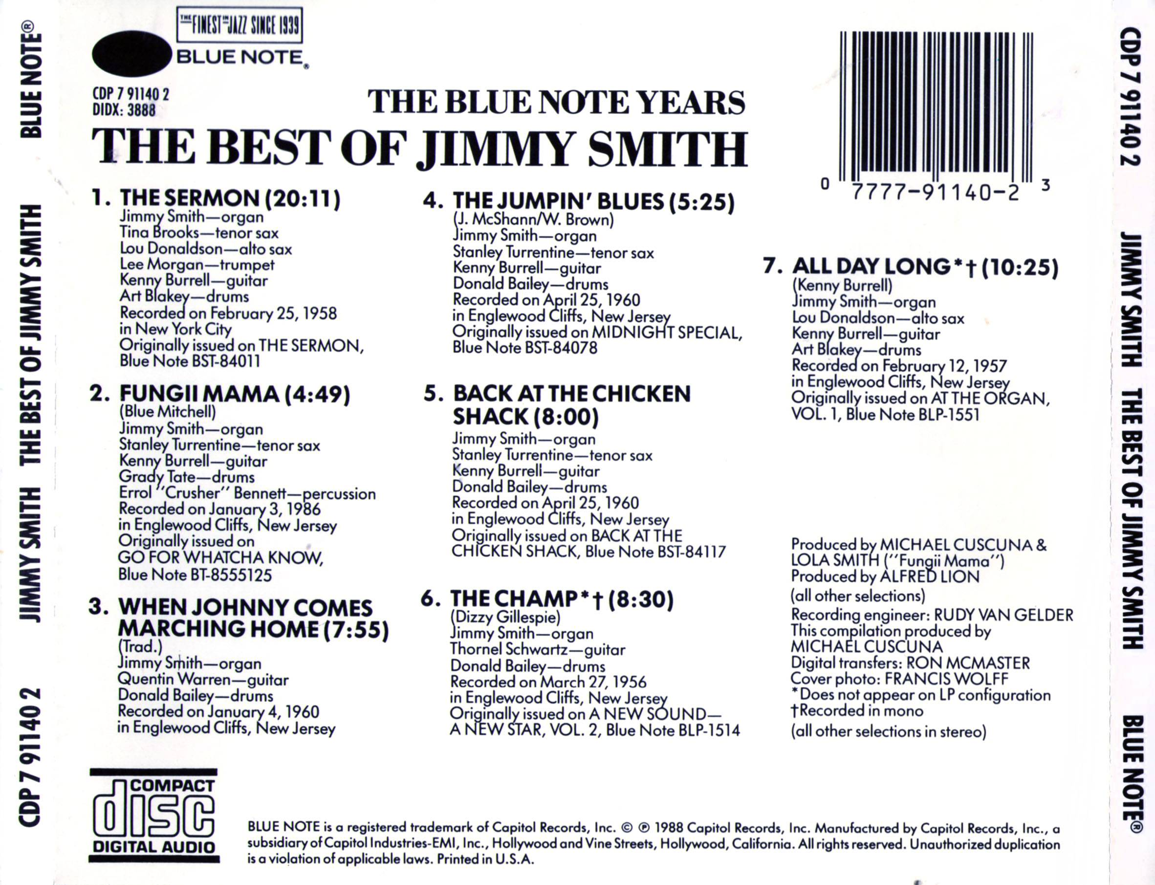 Jimmy Smith - The Best Of Jimmy Smith: The Blue Note Years (1988)