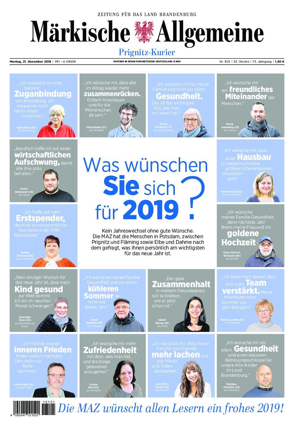 Märkische Allgemeine Prignitz Kurier - 31. Dezember 2018
