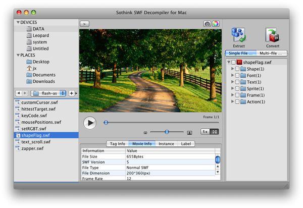 Sothink SWF Decompiler 6.3 (Mac Os X)