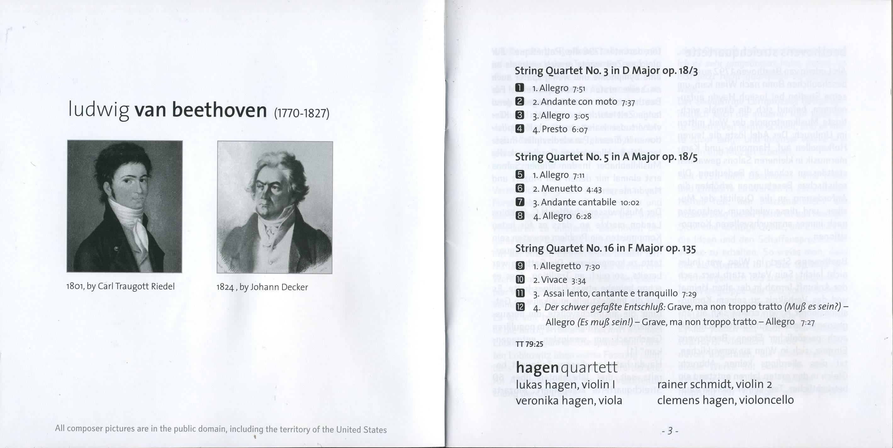 Beethoven - String Quartets op. 18/3, 18/5 & 135 - Hagen Quartett (2013) {Myrios Classics MYR009}