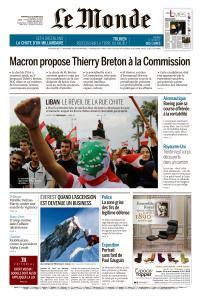 Le Monde du Vendredi 25 Octobre 2019