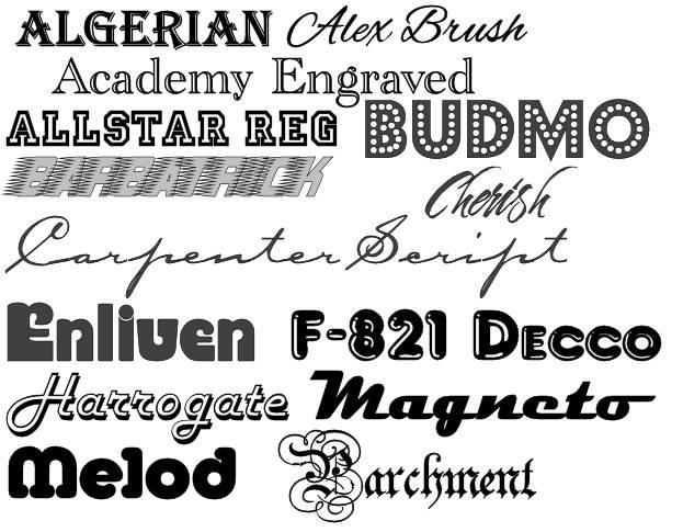 18 True Type Fonts