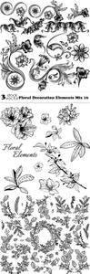 Vectors - Floral Decoration Elements Mix 16