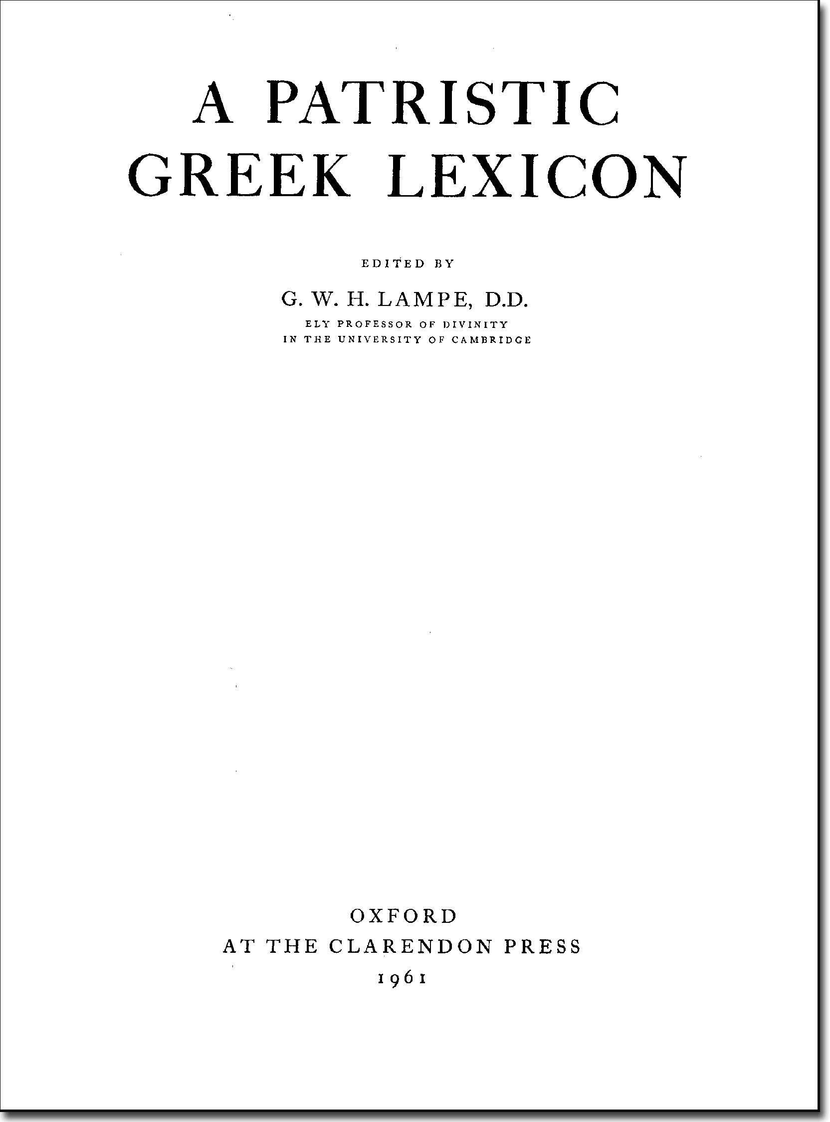 Lampe, Patristic Greek Lexicon 1961