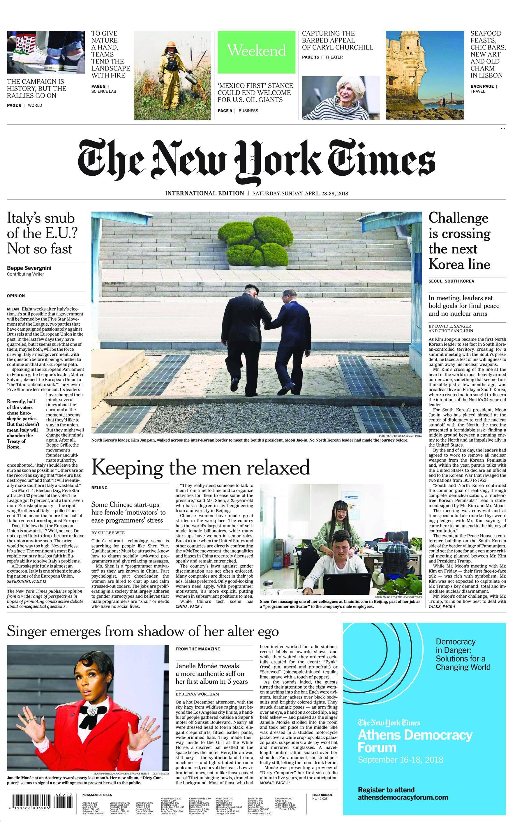 International New York Times - 28 April 2018