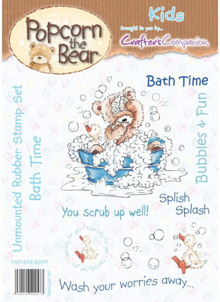 Popcorn The Bear Kids Collection: Bath Time Stamp Set by Crafter's Companion