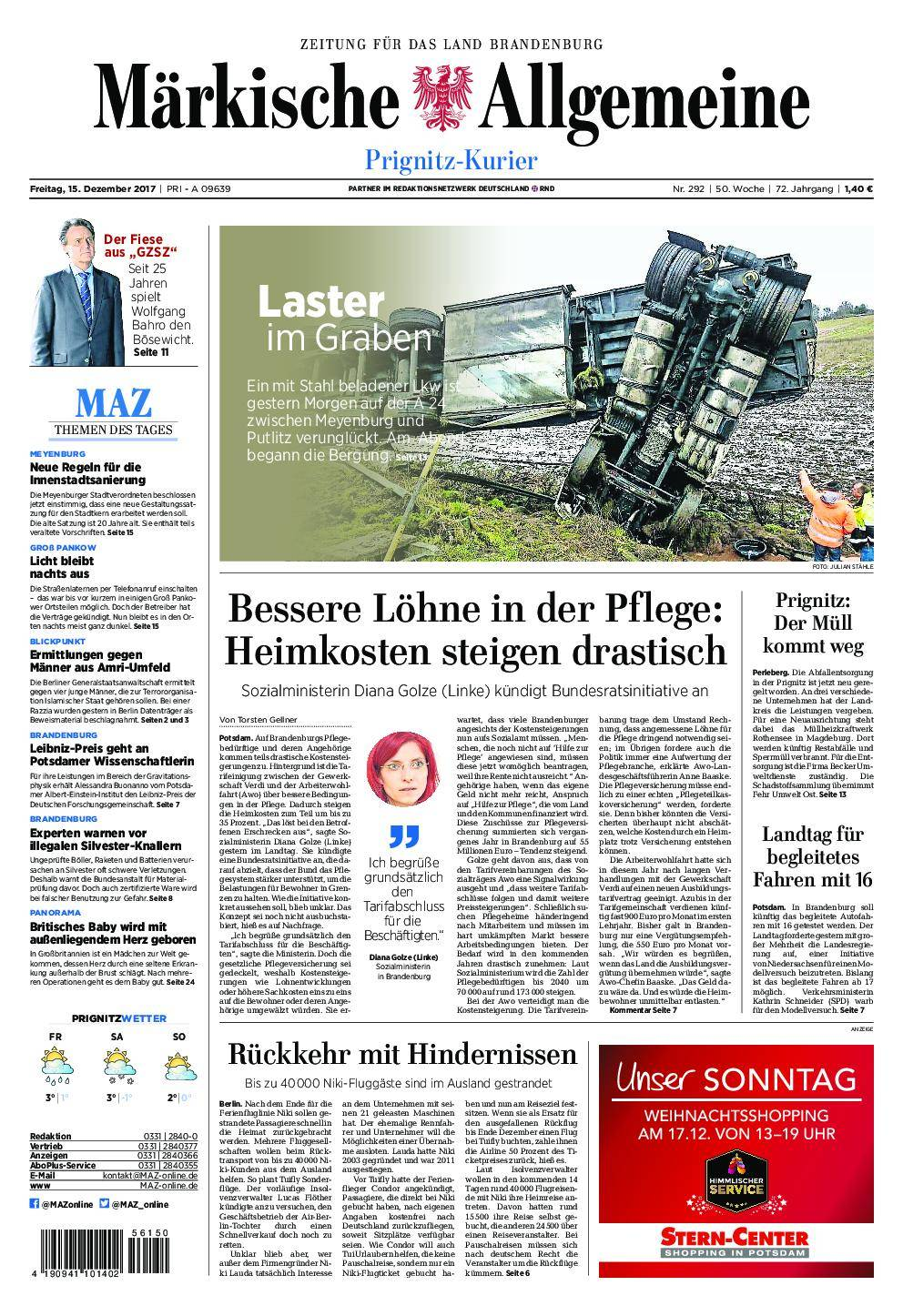 Märkische Allgemeine Prignitz Kurier - 15. Dezember 2017