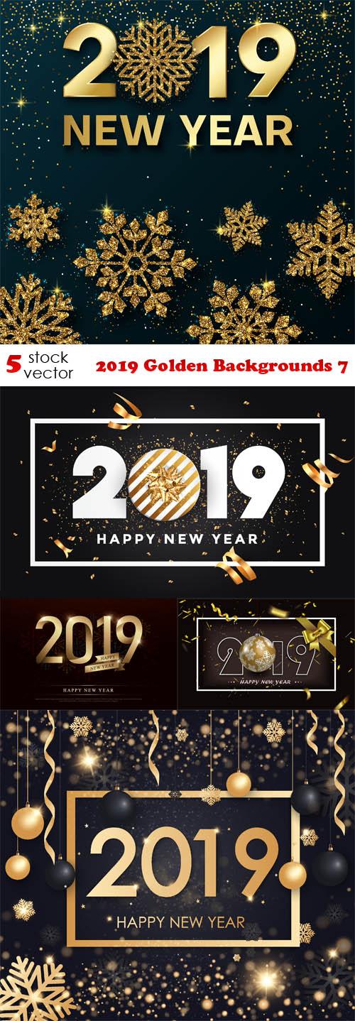 Vectors - 2019 Golden Backgrounds 7