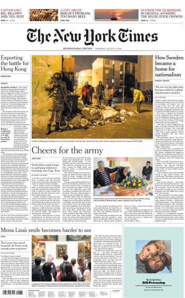 International New York Times - 15 August 2019
