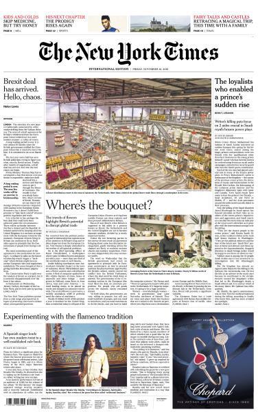 International New York Times - 16 November 2018