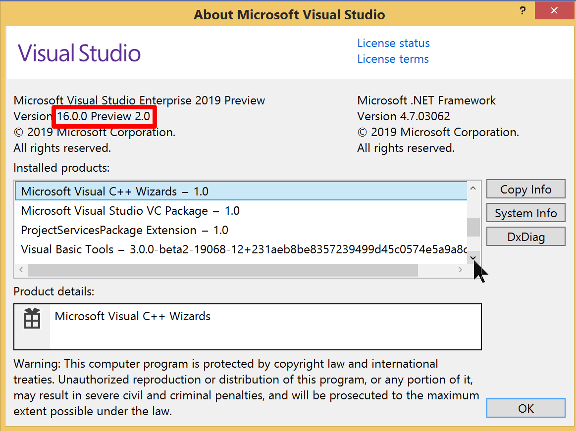 Microsoft Visual Studio 2019 Preview 2 (build 16 0 P2