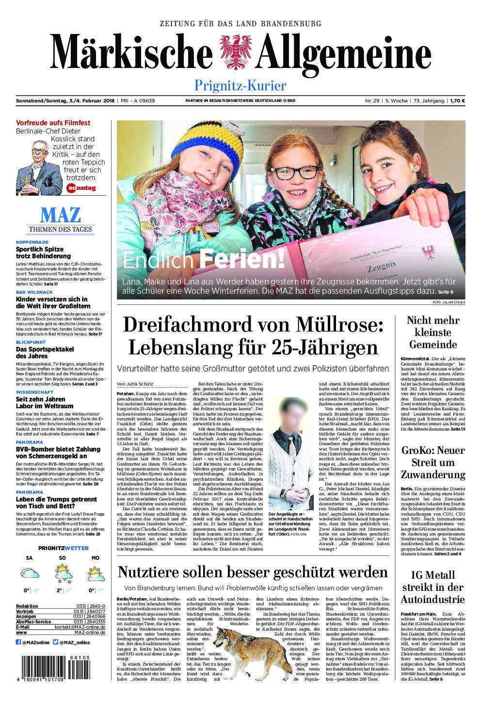 Märkische Allgemeine Prignitz Kurier - 03. Februar 2018