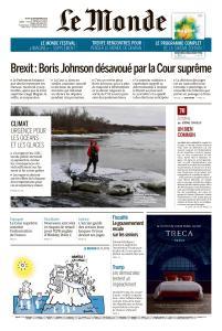 Le Monde du Jeudi 26 Septembre 2019