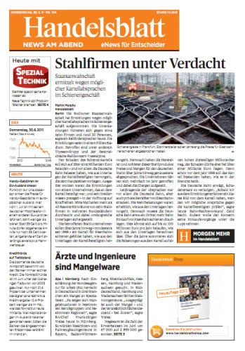 Handelsblatt News am Abend vom 30.06.2011