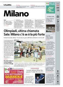 la Repubblica Milano - 9 Settembre 2018