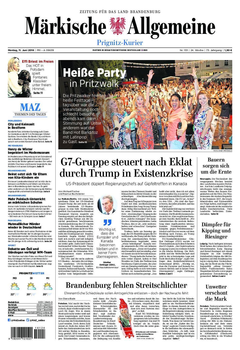 Märkische Allgemeine Prignitz Kurier - 11. Juni 2018