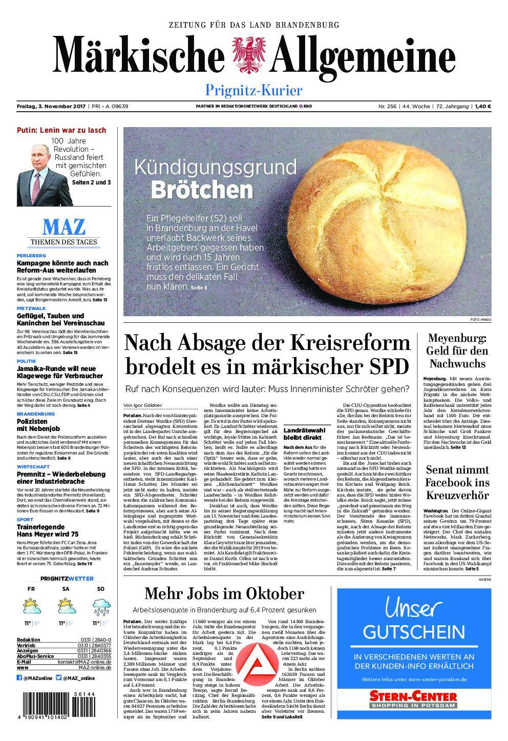 Märkische Allgemeine Prignitz Kurier - 03. November 2017