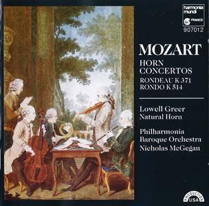 Lowell Greer, Philharmonia Baroque, Nicholas McGegan - Mozart: Horn Concertos; Rondeau K 371; Rondo K 514 (1988)