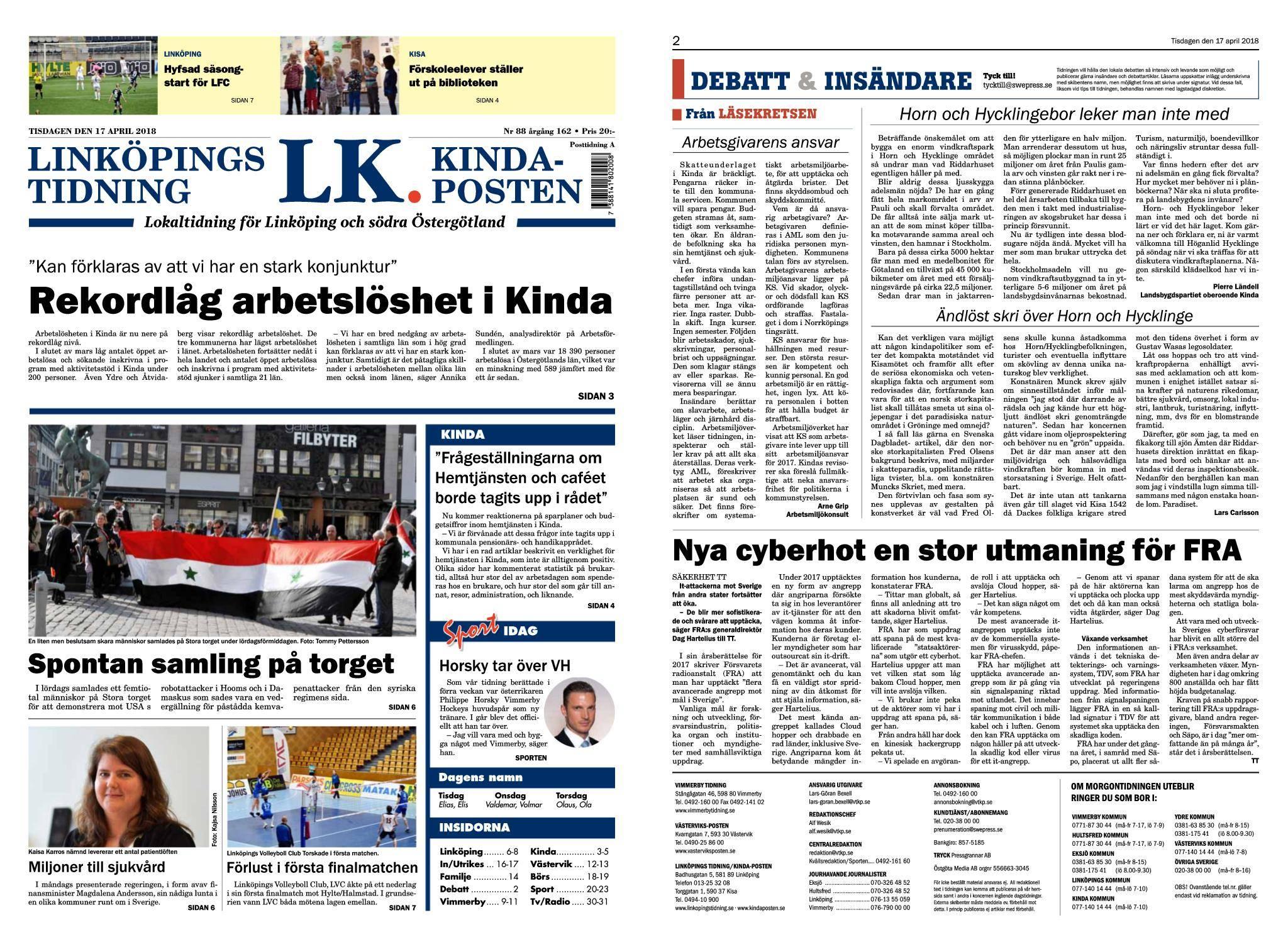 Linköpings Tidning & Kinda-Posten – 17 april 2018