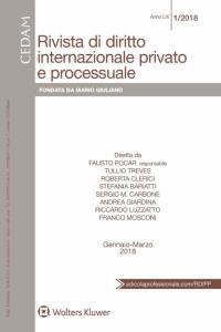 Rivista di Diritto Internazionale Privato e Processuale - Gennaio-Marzo 2018