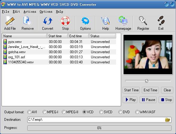 Witcobber WMV to AVI MPEG VCD SVCD DVD Converter ver. 3.2