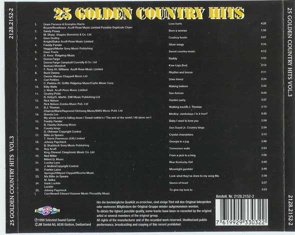 25 Golden Country Hits Volume 3