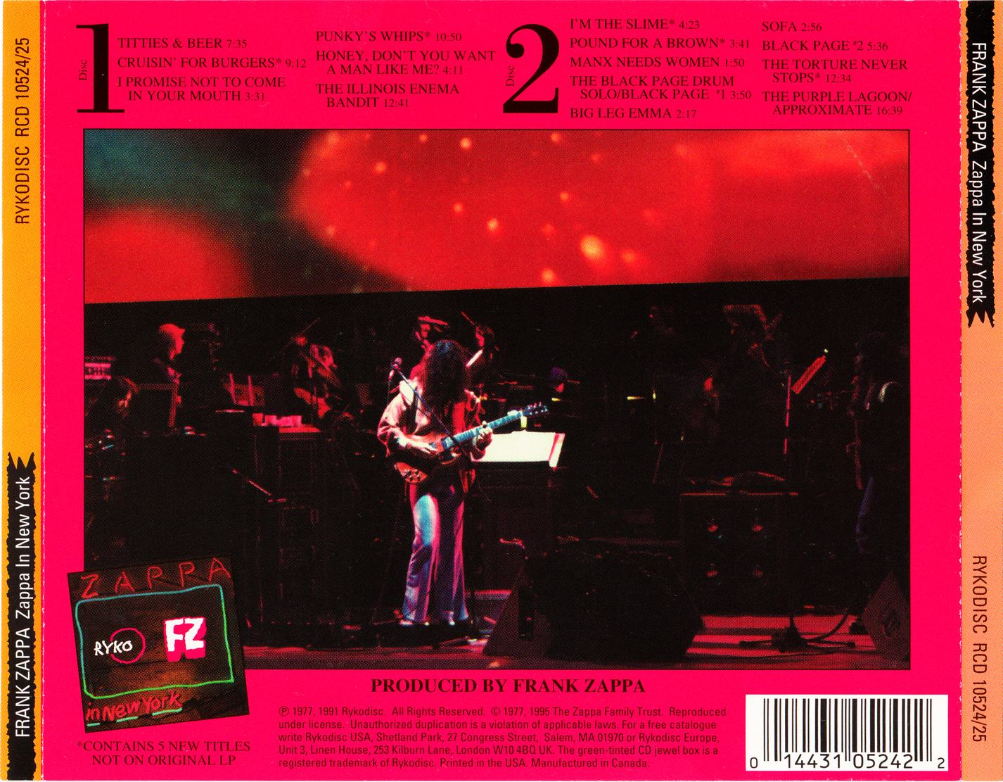 Frank Zappa Zappa In New York 1976 2cd Rykodisc Rcd