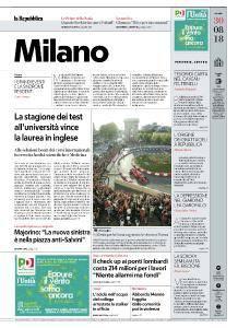 la Repubblica Milano - 30 Agosto 2018