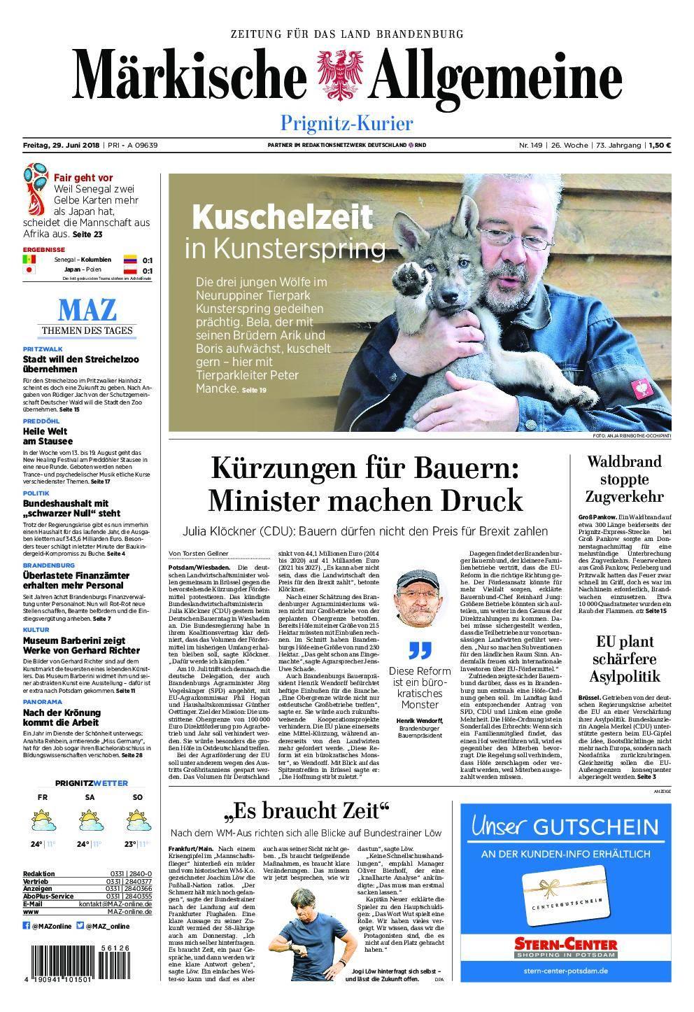 Märkische Allgemeine Prignitz Kurier - 29. Juni 2018