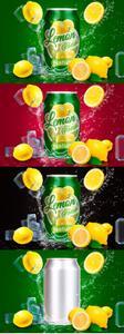 CreativeMarket - Tin Can Water Droplets Lemon Mockup - 3754132