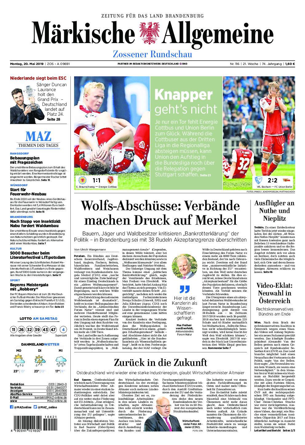 Märkische Allgemeine Zossener Rundschau - 20. Mai 2019
