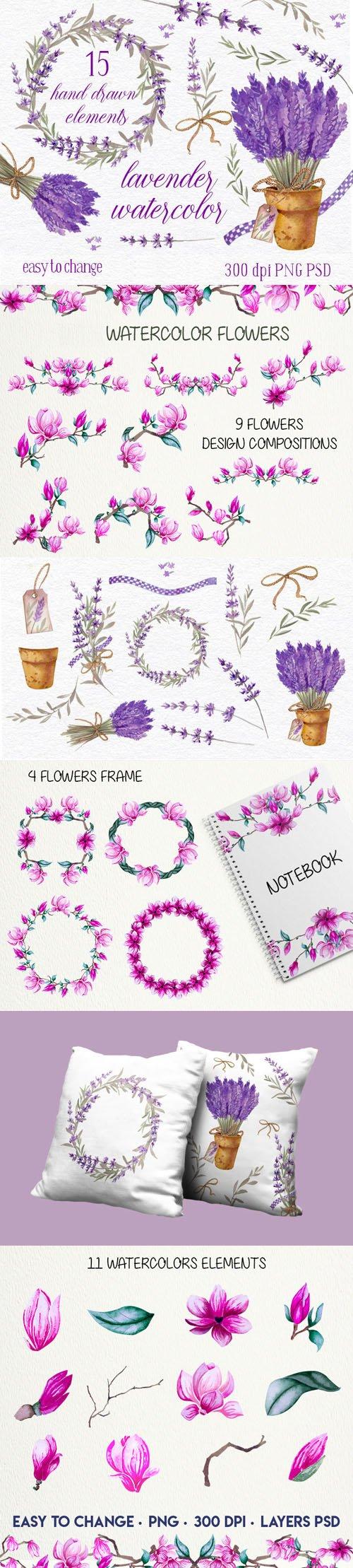 Lavender & Magnolia Watercolor Elements Collection
