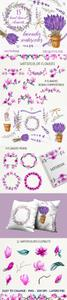 Lavender & Magnolia Watercolor Elements Collection