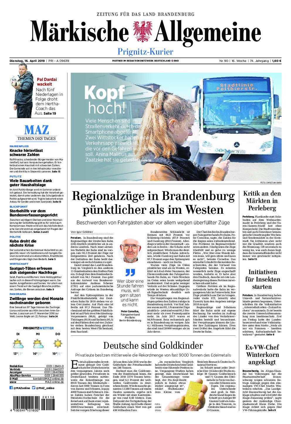 Märkische Allgemeine Prignitz Kurier - 16. April 2019