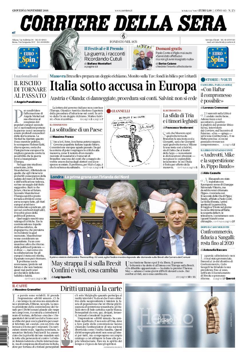 Corriere della Sera – 15 novembre 2018