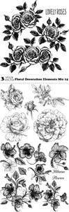 Vectors - Floral Decoration Elements Mix 15