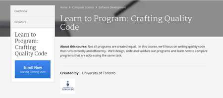 Coursera - Learn to Program: Crafting Quality Code (University of Toronto)