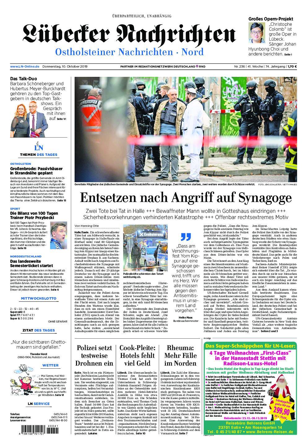Lübecker Nachrichten Ostholstein Nord - 10. Oktober 2019