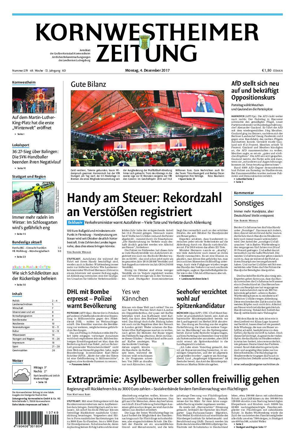 Kornwestheimer Zeitung - 04. Dezember 2017