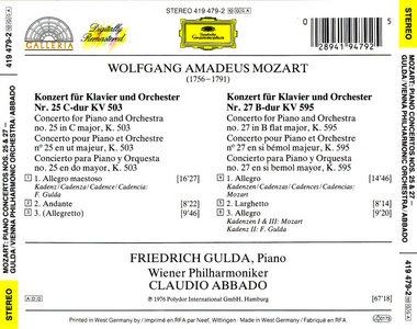 Friedrich Gulda – Claudio Abbado – W.A. Mozart – Piano Concertos Nos. 25 & 27 (1976)