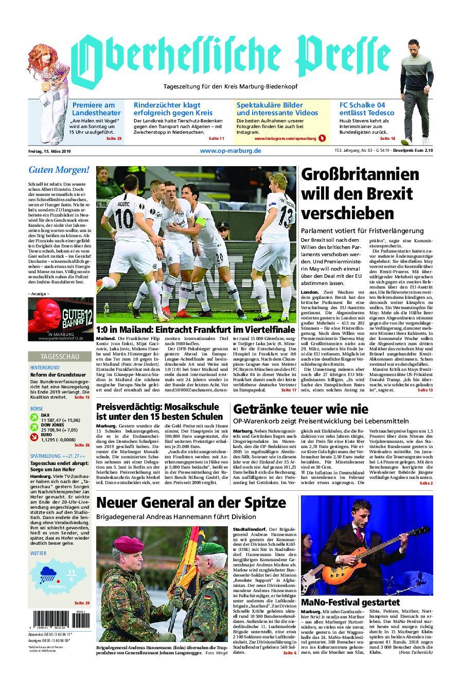 Oberhessische Presse Marburg/Ostkreis - 15. März 2019