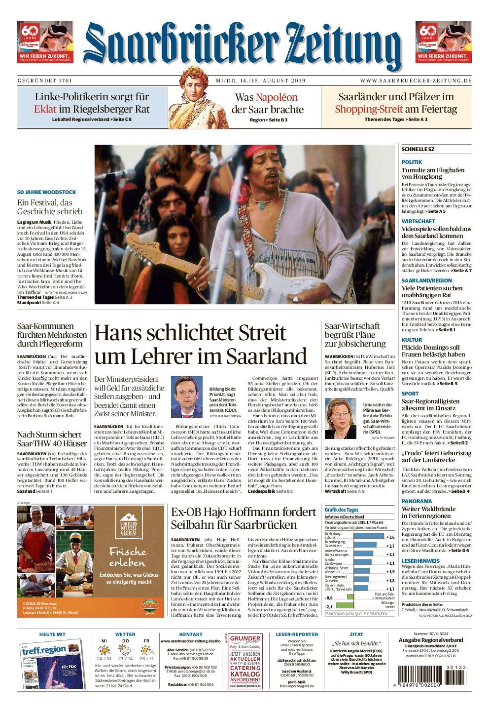Saarbrücker Zeitung – 14. August 2019