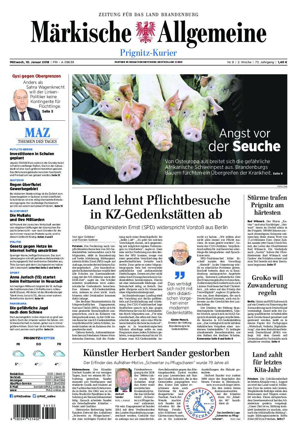 Märkische Allgemeine Prignitz Kurier - 10. Januar 2018