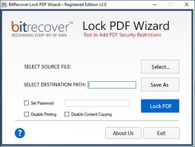 BitRecover Lock PDF Wizard 2.0