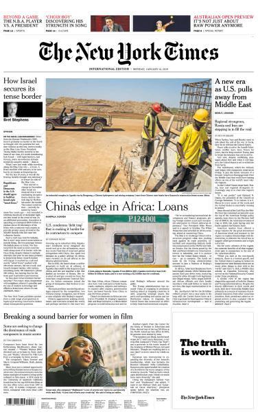 International New York Times - 14 January 2019