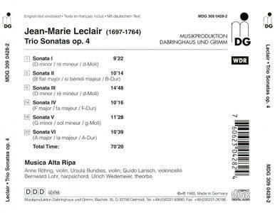 Musica Alta Ripa - Leclair: Trio Sonatas Op.4 (1993) (Repost)